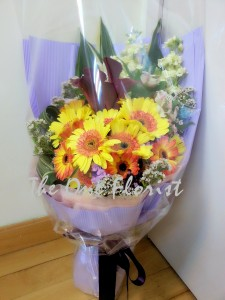 馬蹄蘭太陽花花束