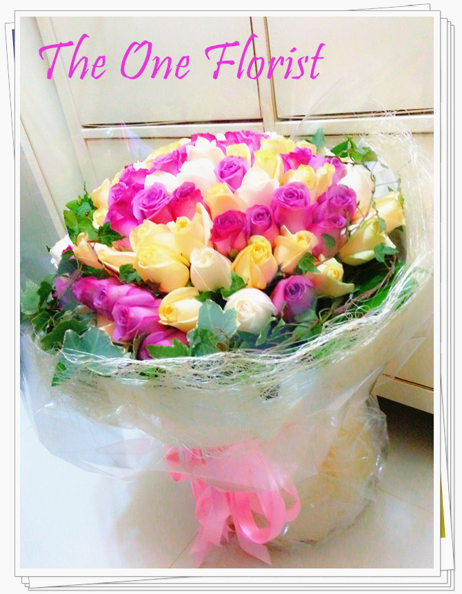 99枝3色玫瑰花束
